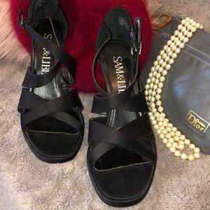 8 Sam & Libby Black Satin heels